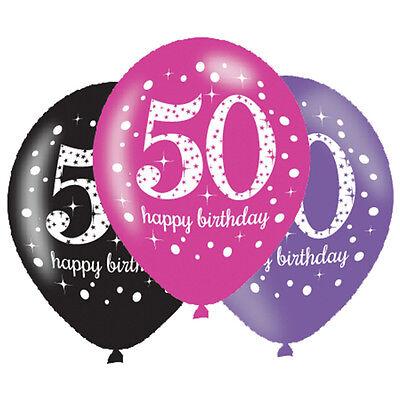 Ballons Schwarz Rosa Flieder Partydekorationen Alter 50 (50 Party-dekorationen)
