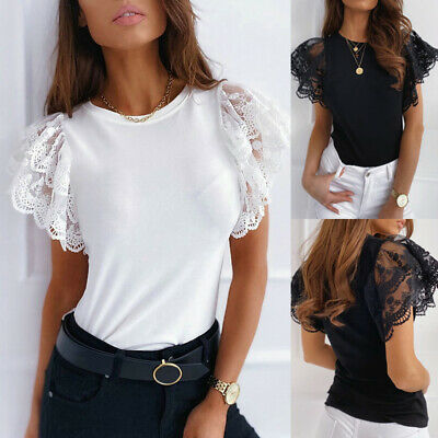 Womens Lace Floral Frill Short Sleeve Blouse Summer Plain Casual T-shirts Tops