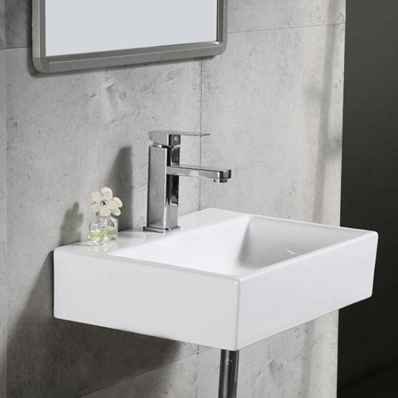 Details About Modern Square Ceramic Small Compact Cloakroom Basin Wall Hung Bathroom Sink