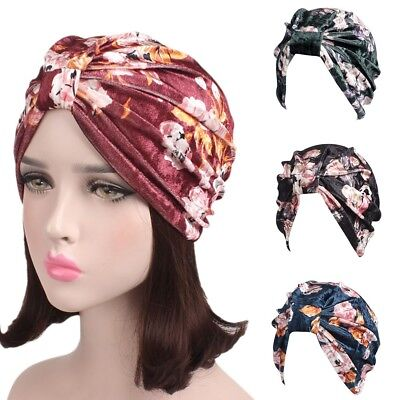 Velvet Turban - Fashion Womens India Muslim Stretch Velvet Floral Turban Hat Head Scarf Wrap Cap