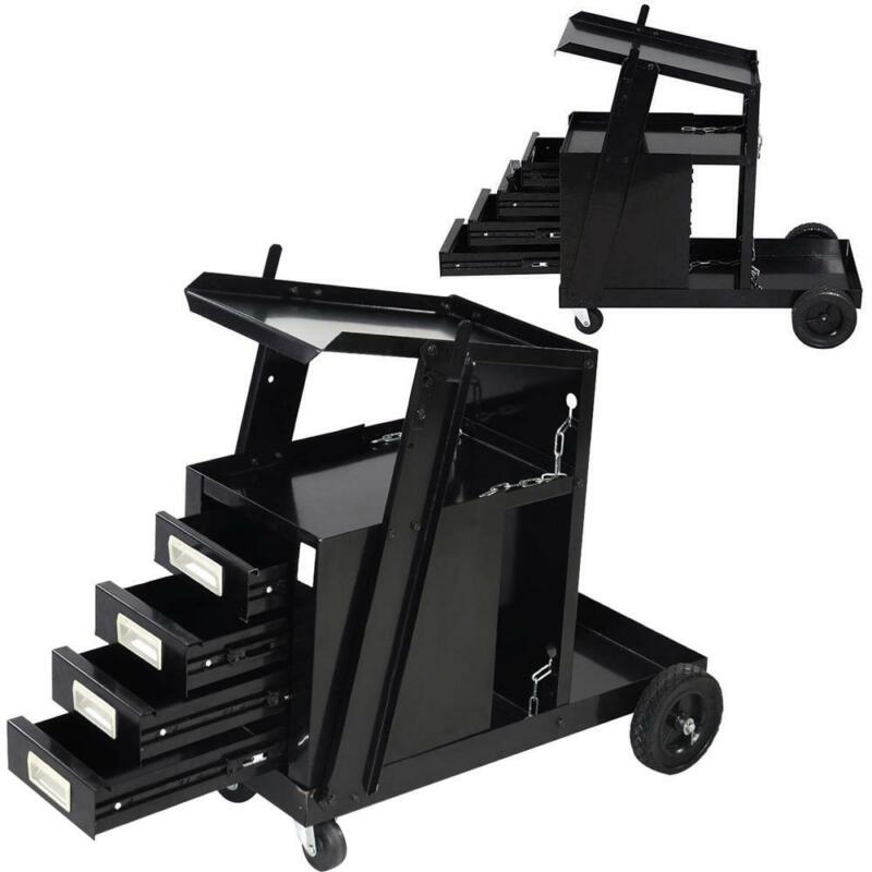 Welding Machine Welder Tool Cart MIG TIG ARC Plasma Storage W/ 4 Drawer Cabinet
