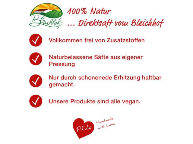 Bleichhof Erdbeersaft – 100% Direktsaft, vegan, 6er Pack (6x 0, 72l)