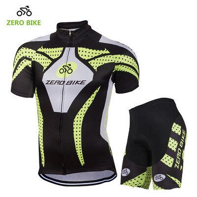 (Mens Cycling Short Sleeve Jersey Shorts Kits Bicycle Riding Shirt Tights Pad Set)