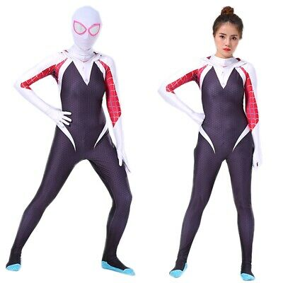 Spider-Man Into the Spider-Verse Gwen Women Girl Cosplay Costume Zentai Suit US