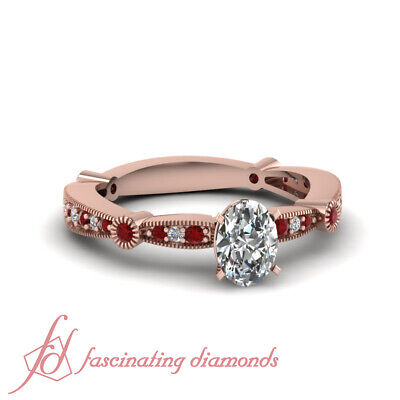3/4 Carat Oval Shaped Diamond & Ruby Gemstone Milgrain Style Ring Pave Set GIA