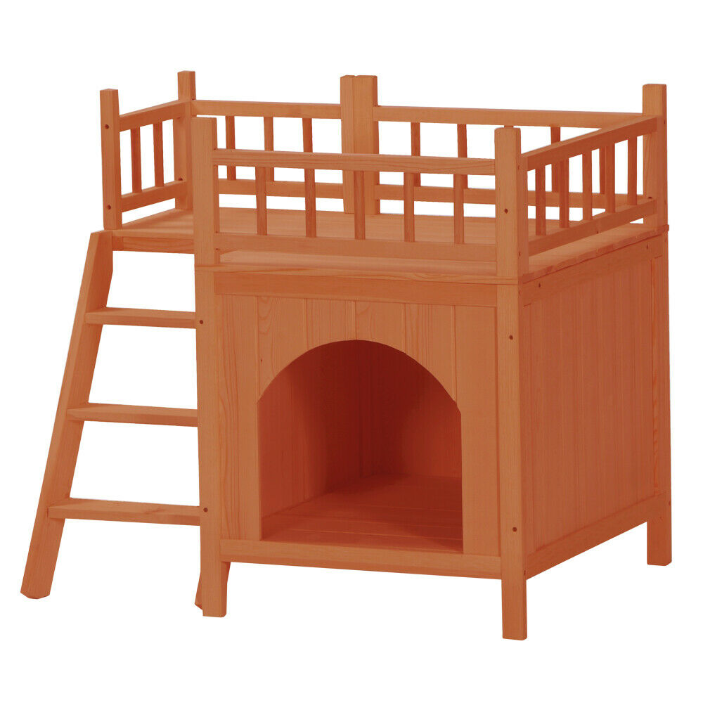 A1Quality Pet Wooden Cat House Living House Kennel With Balcony Orange Red - $139.99