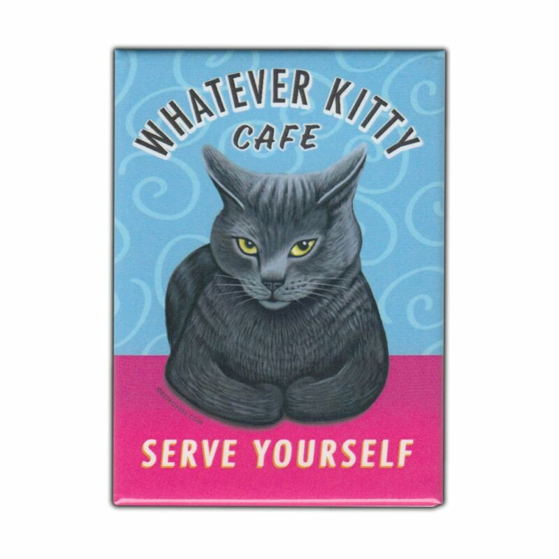 """Retro Pets Magnet, Whatever Kitty Cafe, Grey Cat, Advertising Art, 2.5"""" x 3.5"""""""