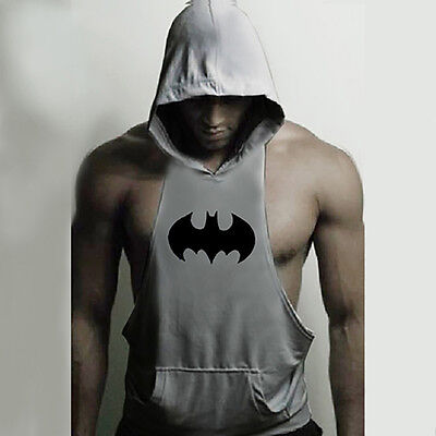 Batman Muscle Shirt (Hot Men Batman Gym Clothing Bodybuilding Hoodie Tank Top Muscle Hooded)