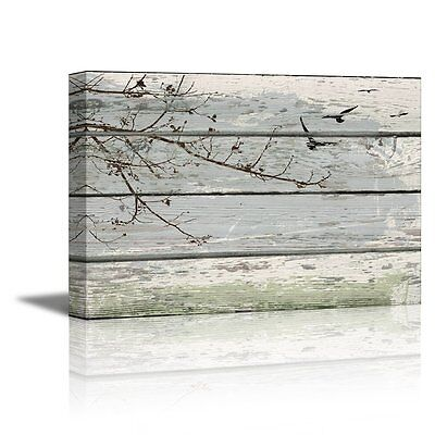 Branches Stretched Wall Art (Abstract Wall Art Tree Branches with Birds on Vintage Wood Background- 16