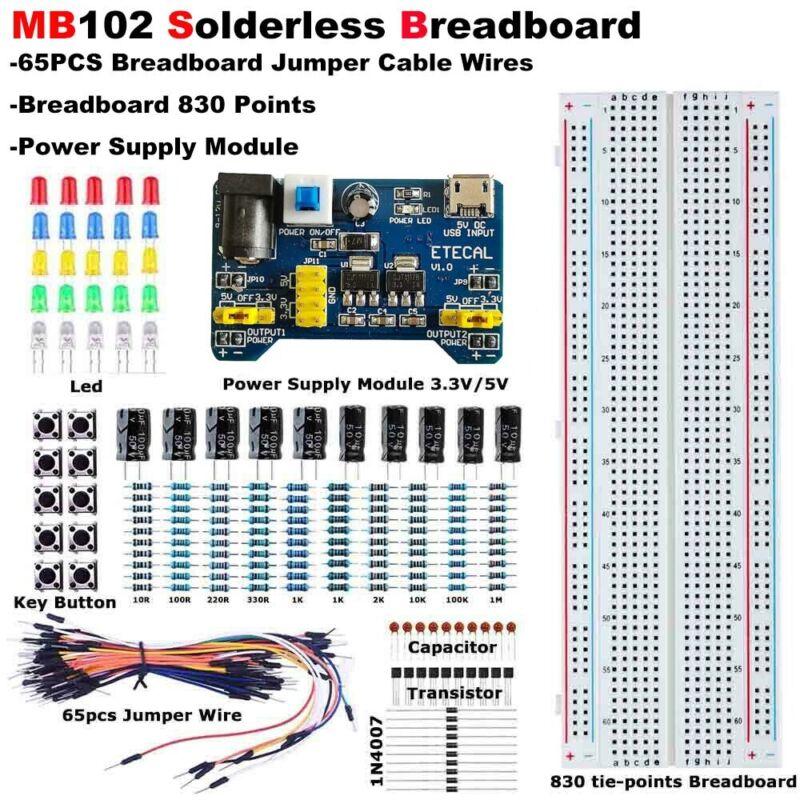 Solderless Breadboard Protoboard 830 contacts Socket MB-102 PCB Test Circuit kit