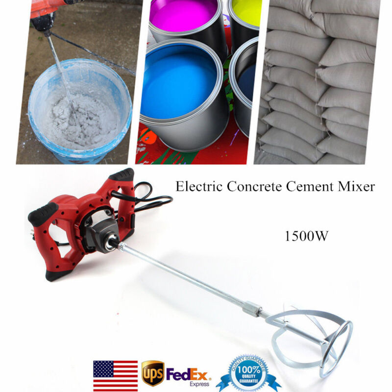 Handheld Electric Concrete Cement Mixer Mixing Mortars 6 Speed 1500W Adjustable