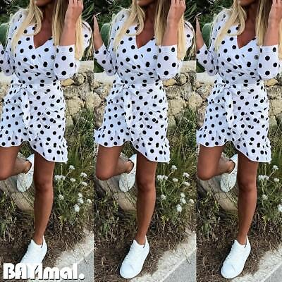 Women Ruffle Polka Dot Mini Dress Ladies Casual V Neck Long Sleeve Bodycon Dress