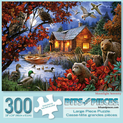 Bits & Pieces-300 Large Piece Jigsaw Puzzle-Moonlight Serenity-by Larry Jones - Large Puzzle