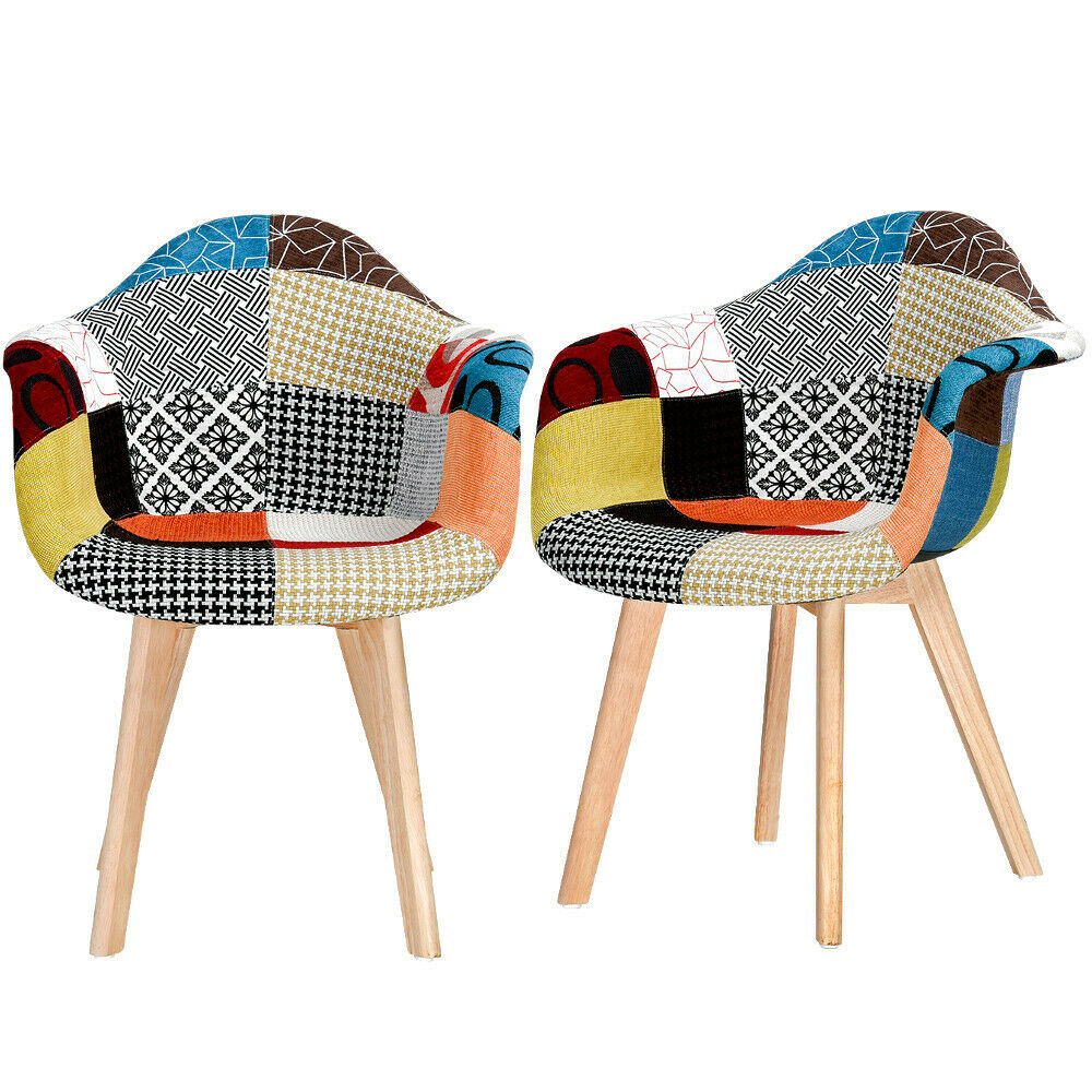 Details about Set of 10 Patchwork Fabric Dining Chairs - Padded Seat -  Wooden Legs Tub Armchair