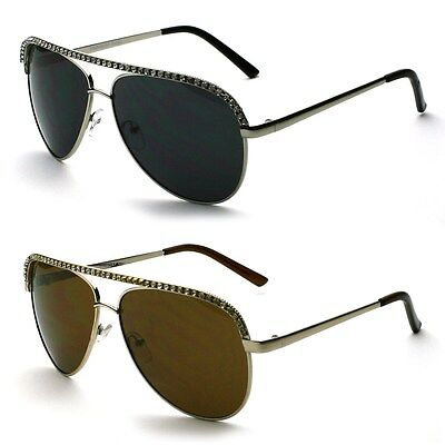 Flat Top Rhinestone Metal Avaitor Mens Womens Fashion (Avaitor Sunglasses)