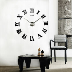 Modern 3D Roman Digital Wall Clock DIY Large Numerals Stickers Home Decor