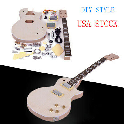 Top Solid Body Electric Guitar - Unfinished LP Style Electric Guitar DIY Kit Top-Solid Mahogany Body Neck R8F6