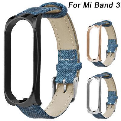 Denim-armband (Denim Armband Uhrenarmband Ersatz Strap + Metall Case für Xiaomi Mi Band 3)