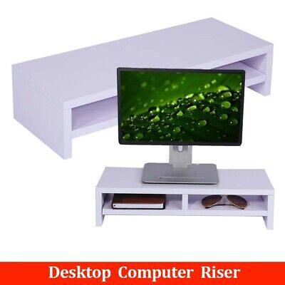 2 Tier Wood  Computer PC/iMac Monitor TV Screen Display Riser Mount Stand NEW