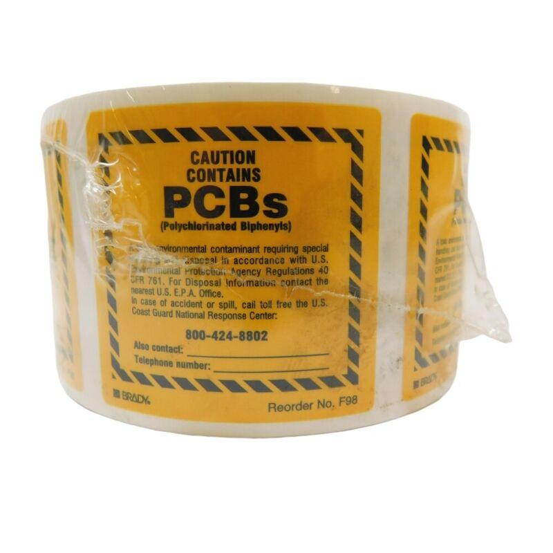 "Brady F98LS Caution PCBs Labels Self Adhesive 2"" x 2"" (Roll of 100)"