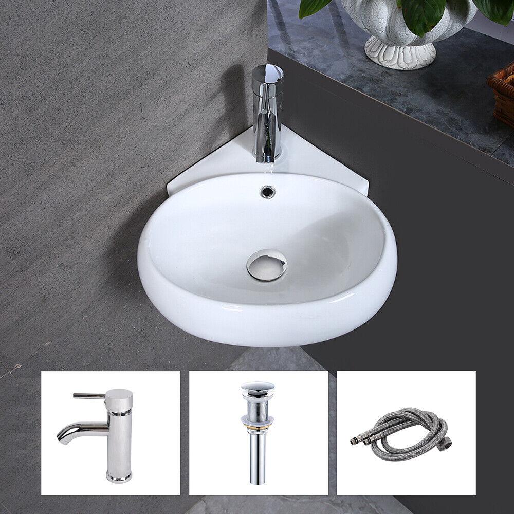 Bathroom Corner Ceramic Vessel Sink Wall Mount Porcelain Bas