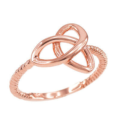 Rose Gold Ladies Woman`s Celtic Irish Trinity Triquetra knot Rope Ring