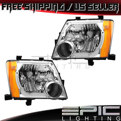 Headlights for 2005-2015 NISSAN XTERRA HALOGEN CHROME - Left Right Sides Pair