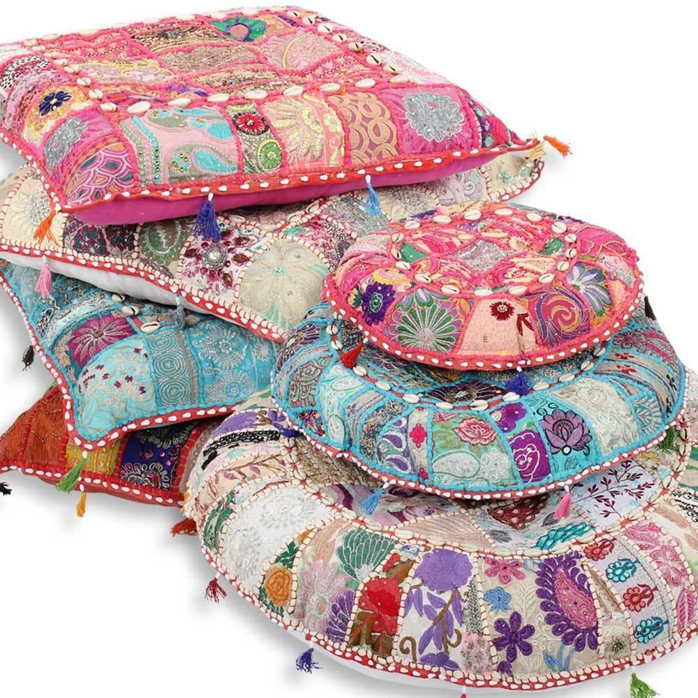 indische sitzkissen bodenkissen yogakissen patchwork kissen meditationskissen ebay. Black Bedroom Furniture Sets. Home Design Ideas