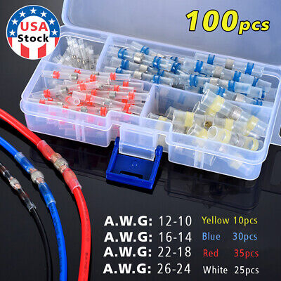 100pcs Heat Shrink Solder Sleeve Butt Wire Connectors Solder Seal Terminal Kit