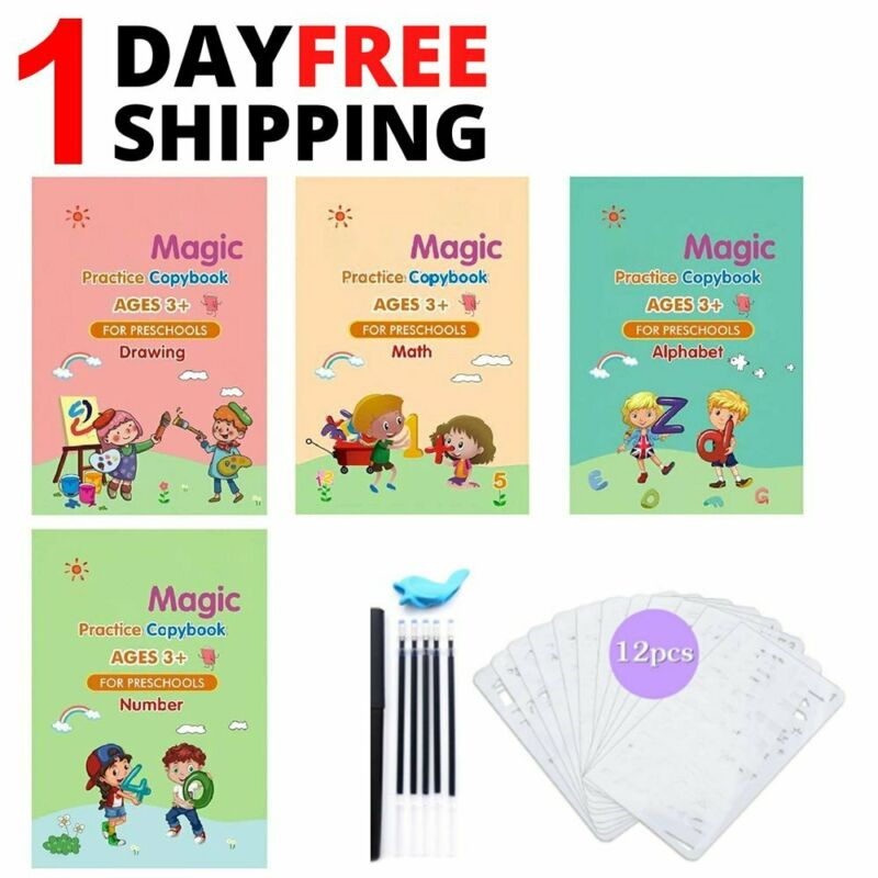23Pcs Magic Practice Copybook Set Reusable English Number Calligraphy Book kids