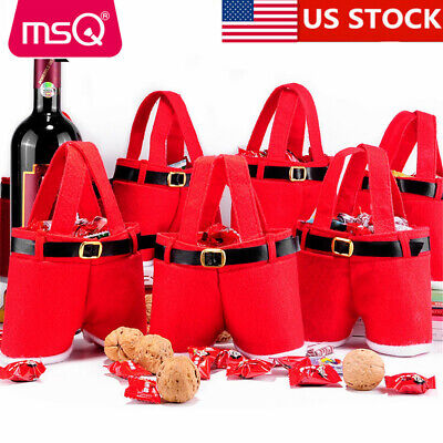 Red Gift Bags (US Bags Christmas Cover Candy Bags Santa Pants Style Lovely Treat Bags Big)