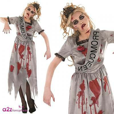 Zombie Prom Queen Adult Ladies Halloween Fancy Dress Costume High School UK 8-22 - Zombie Halloween Costume Uk