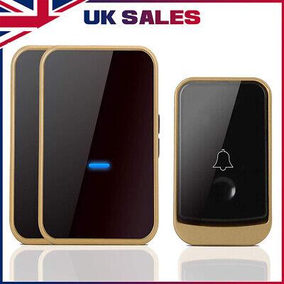 UK Remote Waterproof LED Home Wireless Doorbell 45 Songs Chime Door Bell