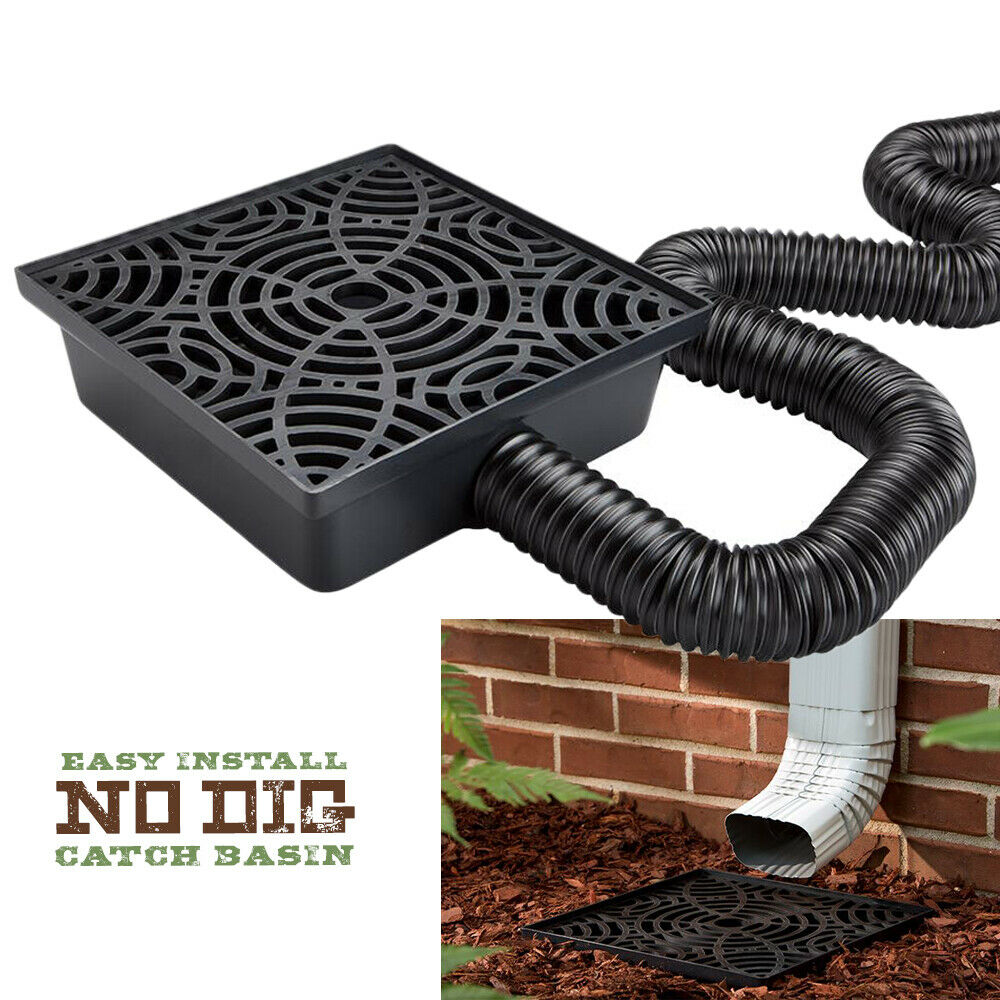 12 Inch No Dig Low Profile Catch Basin Downspout Extension Kit, Black Home & Garden