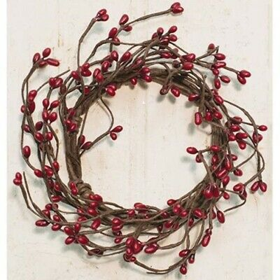 2 Pcs Pip Berry Candle Rings Mini Wreath Burgundy Red 3.5