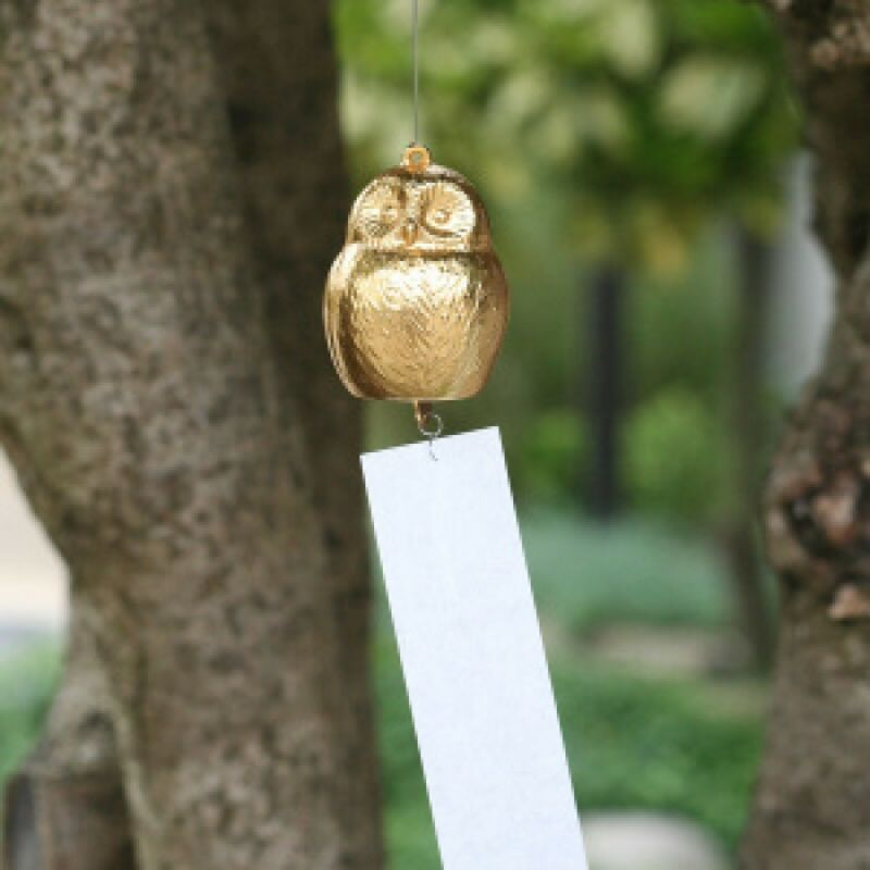 Owl Furin Japanese Wind chime bell Nousaku Takaoka Brass Made in japan