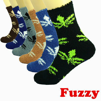 - For Mens 3-10 Pairs Soft Cozy Fuzzy Socks Leaf Weed Home Warm Slipper Size 9-13