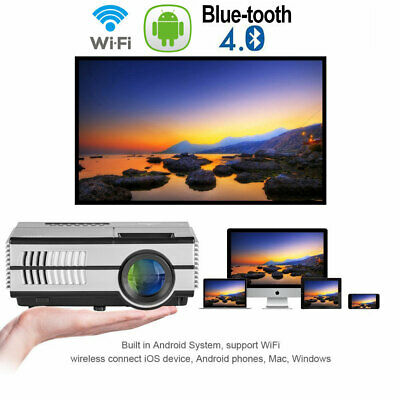 Mini Android WiFi Blue-tooth Projector 2800lms Game Sports Apps HDMI US Miracast