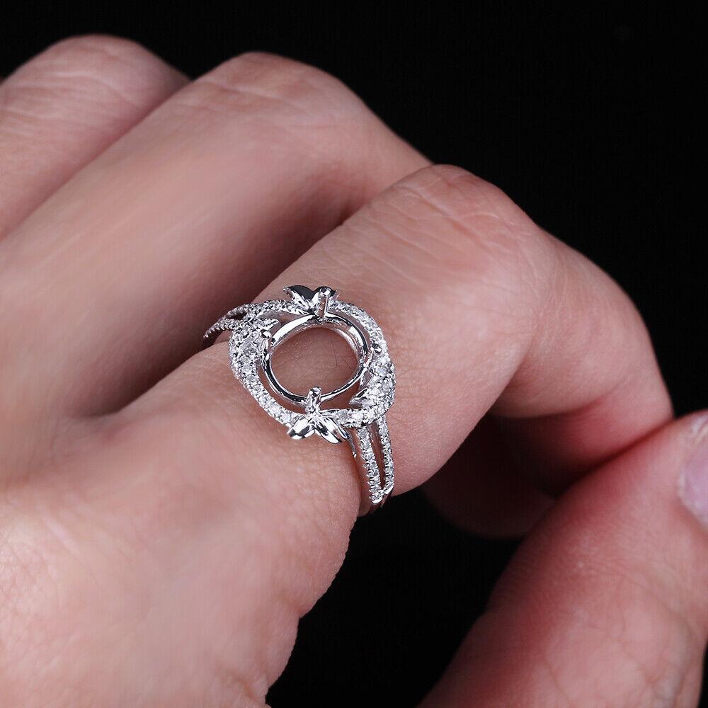 Attractive!10K White Gold Women Delicate Engagement Fine Semi Mount ...