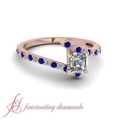 3/4 Carat Asscher Cut Affordable Diamond Ring Pave Set And Blue Sapphire 14K GIA