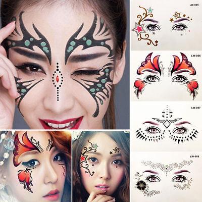 Glitter Temporary Tattoo Stickers Eyes Face Body Art Makeup Halloween Party Use - Halloween Eye Makeup Stickers