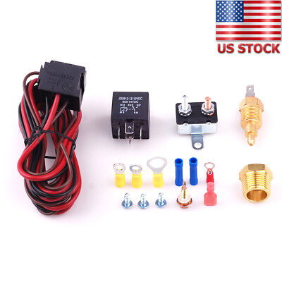 200//185 Cooling Radiator Engine Fan Thermostat Temperature Switch Relay Kit 3//8