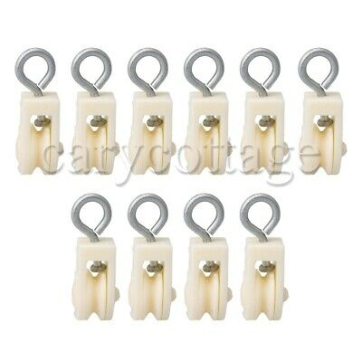 10pcs Plastic Single Wheel Pulley Block Swivel Snatch 8mm Rope Hanging Wire