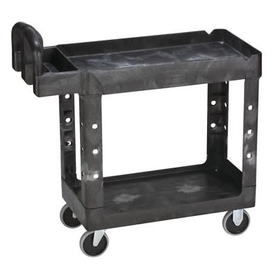 Rubbermaid 640-4500-88-bla Hd 2-shelf Utility Cart 39l X 17.87w X 33.25h