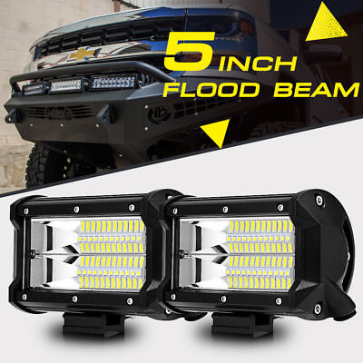 "PAIR 5""INCH 288W CREE LED Work Light Bar FLOOD Beam Pods Off"