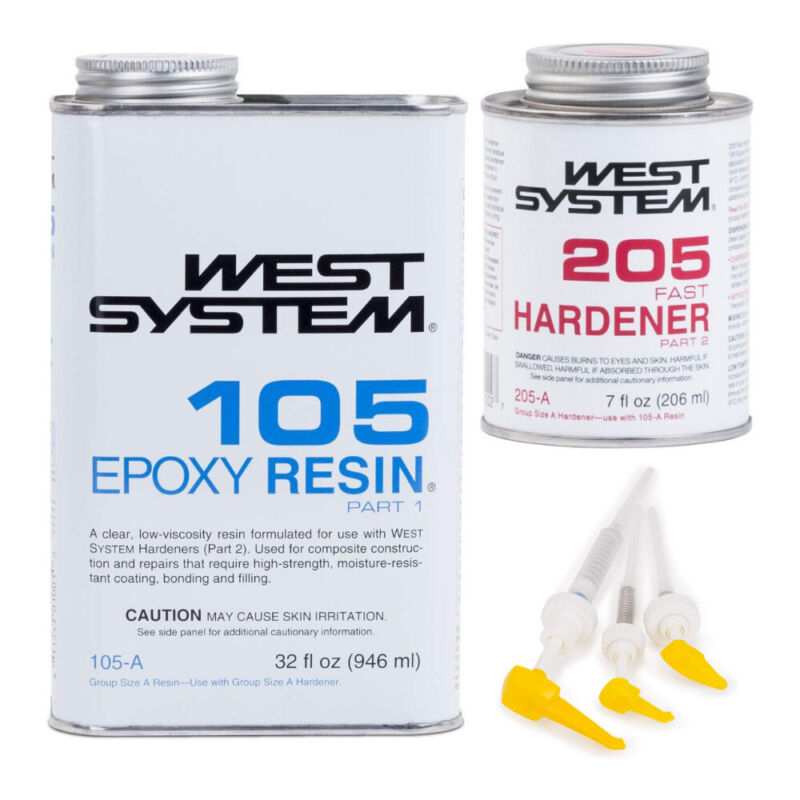 West System 105 Epoxy Resin with 205 Fast Epoxy Hardener and 300 Mini Pumps Set