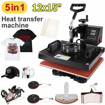 5 In 1 15x12 Heat Press Machine Digital Transfer Sublimation T-shirt Mug Hat