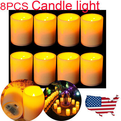 8Pack Pillar Candle Flameless LED Candle Light Lamp For Birthday Wedding Party  - Flameless Lamps