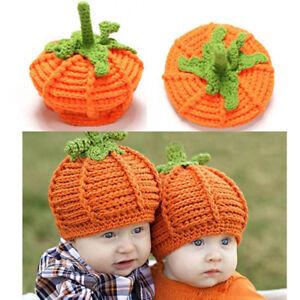 2b5c97e5ab5 Newborn Infant Baby Cute Pumpkin Cap Knit Hat Halloween Costume Photography  Prop