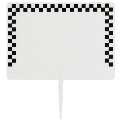 Deli Spear Tags With Black Checked Border White Plastic - 2 1/2 H x 3 1/2 L Black White Checkered Border